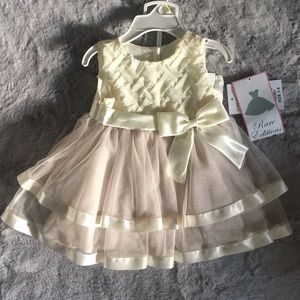 Rare Editions 2 Piece Set Ivory Dress & Bloomer